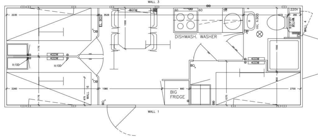 Plantegning skurvogn Simple Homes