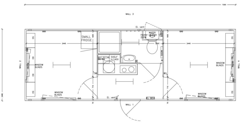 Plantegning skurvogn Simple Homes Esbjerg