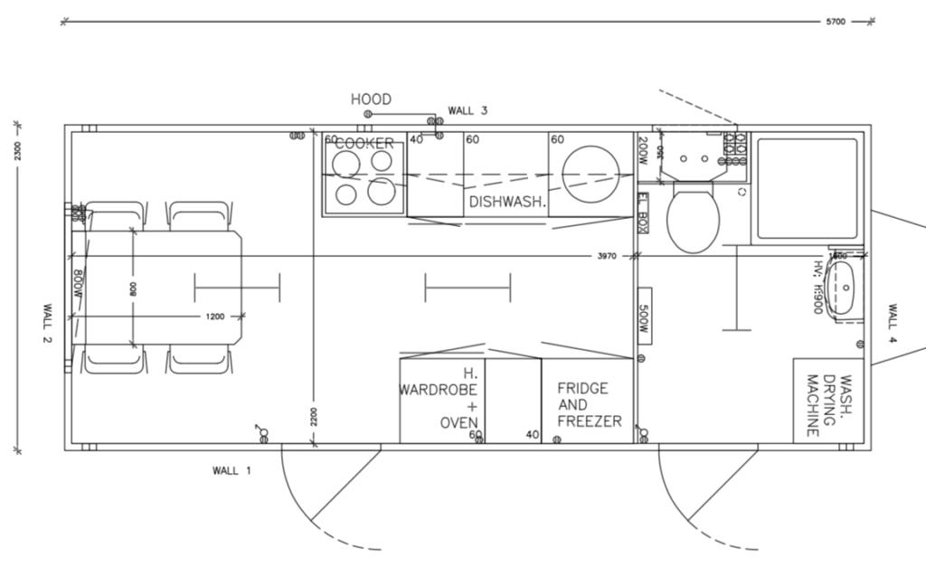 Plantegning af køkkenvogn m/ badeværelse