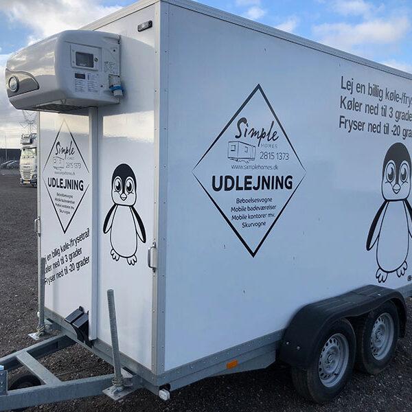 Leje af kølefrys trailer med frys ned til -20 grader